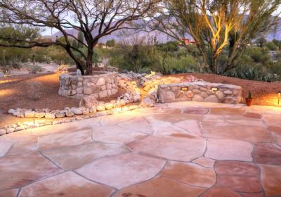 Flagstone Patio With Rock Walls Canyon Swales